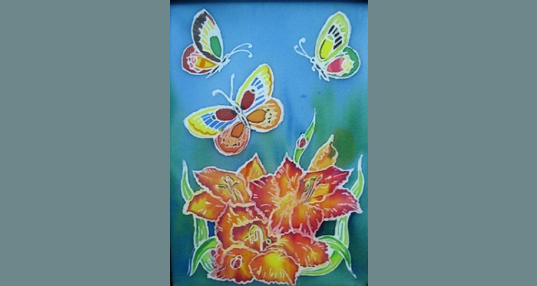 Конспект занятия по теме «Роспись по батику «Панно с цветами»